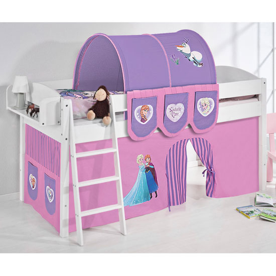 Product photograph showing Lilla Children Bed In White With Frozen Purple Curtains