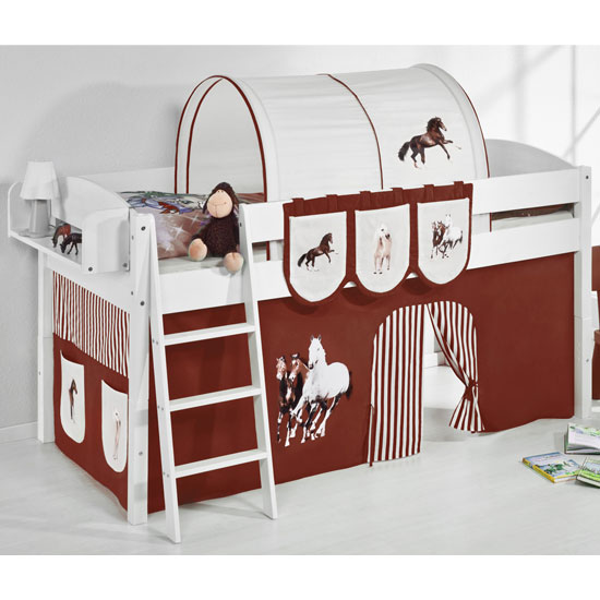 Lilla Children Bed In White With Horses Brown Curtains