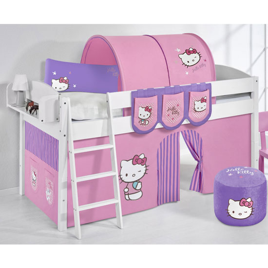 Lilla Children Bed In White With Kitty Purple Curtains