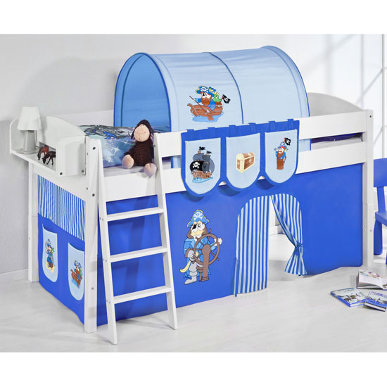 Lilla Children Bed In White With Pirate Blue Curtains