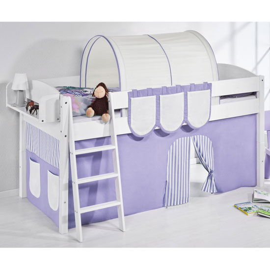 Lilla Children Bed In White With Purple Curtains