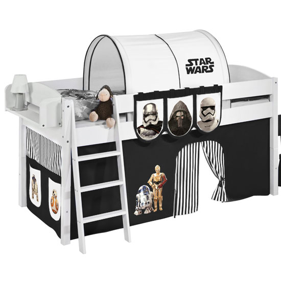 Lilla Children Bed In White With Star Wars Black Curtains_2