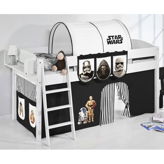 Lilla Children Bed In White With Star Wars Black Curtains_1