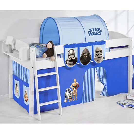 Lilla Children Bed In White With Star Wars Blue Curtains
