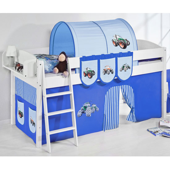 Lilla Children Bed In White With Tractor Blue Curtains