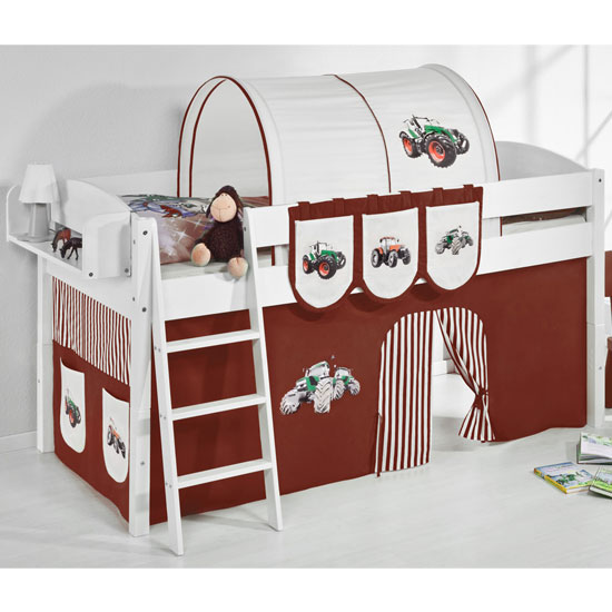 Lilla Children Bed In White With Tractor Brown Curtains