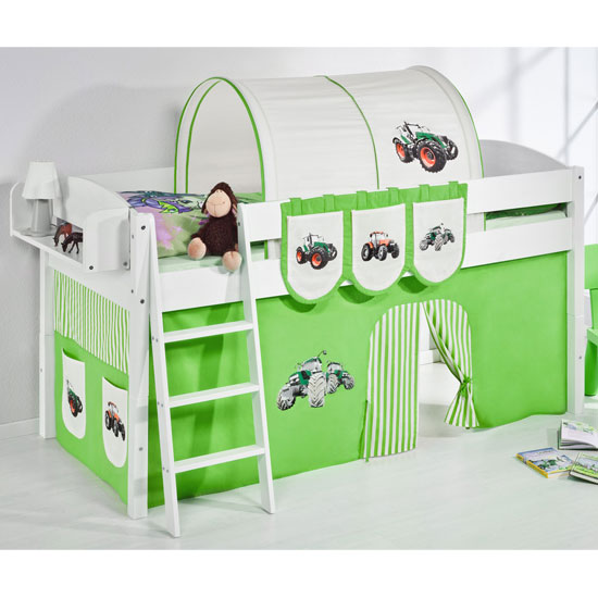 Lilla Children Bed In White With Tractor Green Curtains