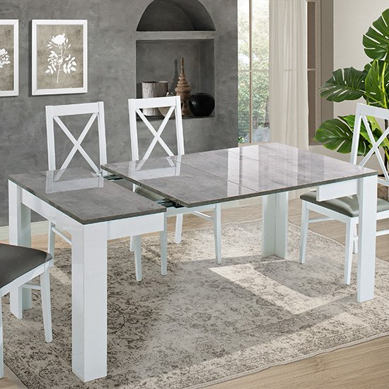 Idea Extending Wooden Dining Table In White And Grey High Gloss