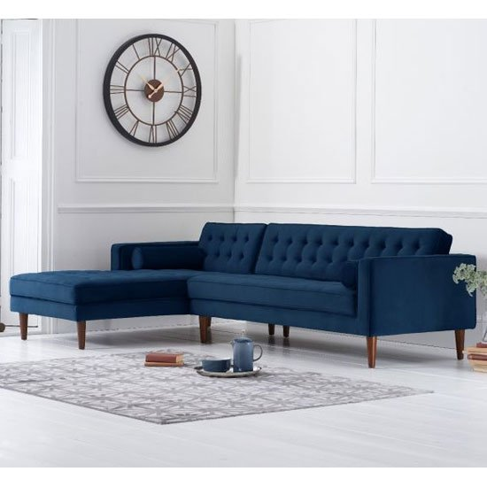 Idriana Velvet Left Facing Corner Chaise Sofa In Blue