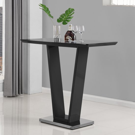 Ilko High Gloss Bar Table In Black With Stainless Steel Base