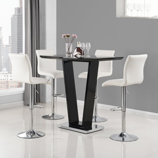 Ilko High Gloss Bar Table In Black With 4 White Ripple Stools