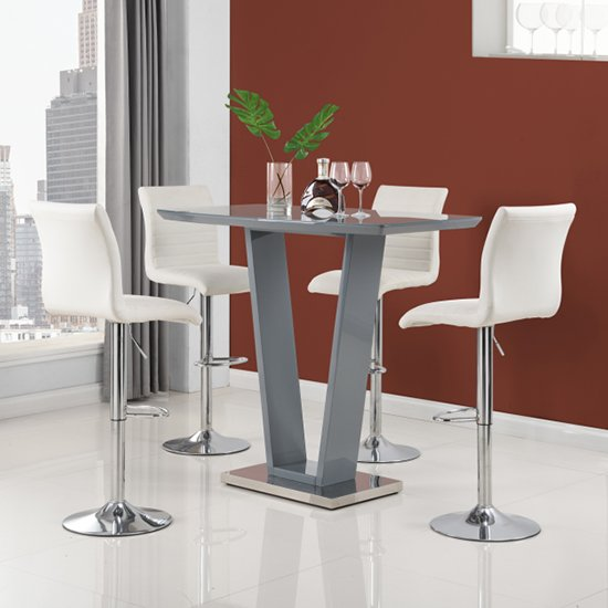 Ilko High Gloss Bar Table In Grey With 4 White Ripple Stools