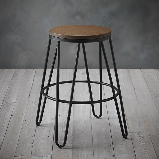 Ikon Black Metal Hairpin Leg Bar Stool With Wooden Seat