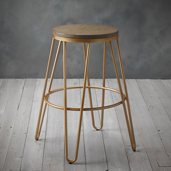 Ikon Gold Effect Hairpin Leg Bar Stool With Wooden Seat