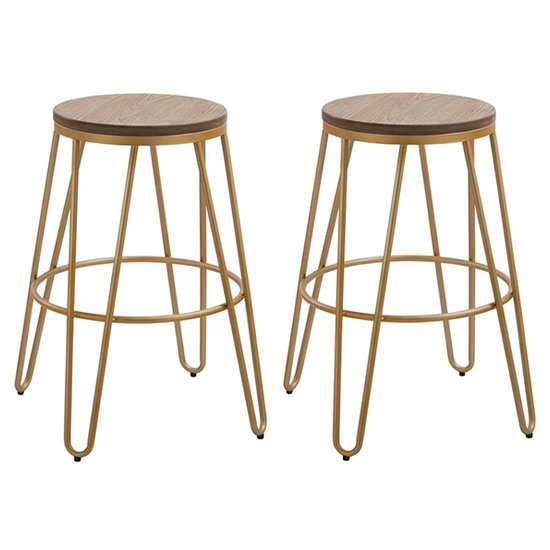 Ikon Gold Effect Hairpin Leg Bar Stool With Wooden Seat In Pair