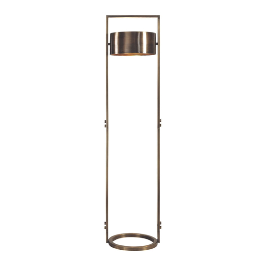 Ilario Antique Brass Floor Lamp With Frosted Glass Diffuser