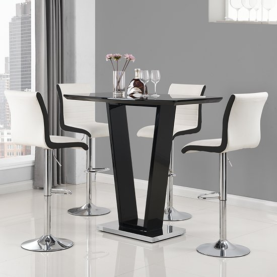 Ilko High Gloss Bar Table In Black With 4 Ritz White Black Stool