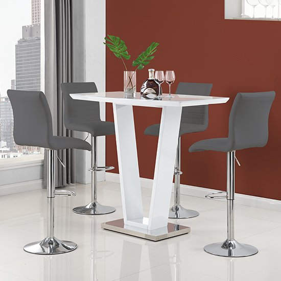 Ilko High Gloss Bar Table In White With 4 Ripple Grey Stools