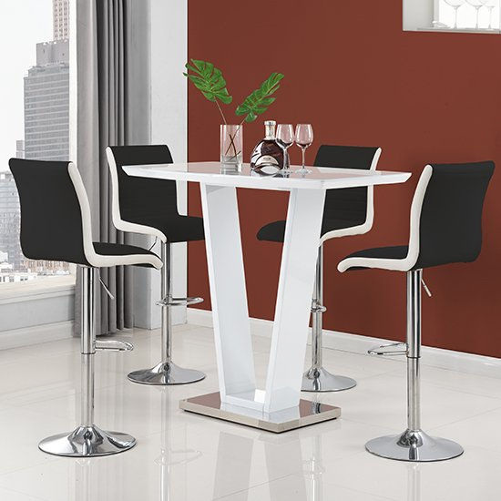 Product photograph showing Ilko High Gloss Bar Table In White With 4 Ritz Black White Stool