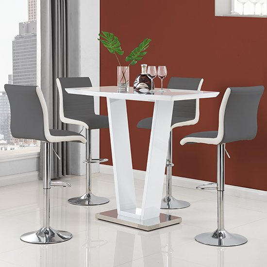 Ilko High Gloss Bar Table In White With 4 Ritz Grey White Stools