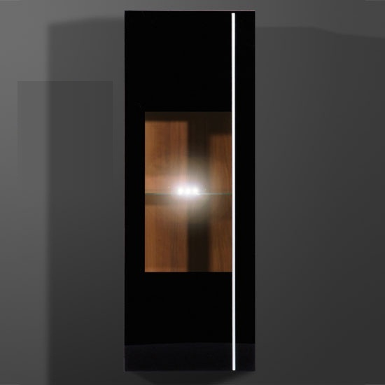 Energy Wall Mounted Cabinet in Black And Walnut With LED Light