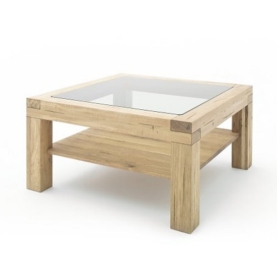 Square Glass And Oak Coffee Table: Imago Contemporary Glass Coffee Table Square In Wild Oak