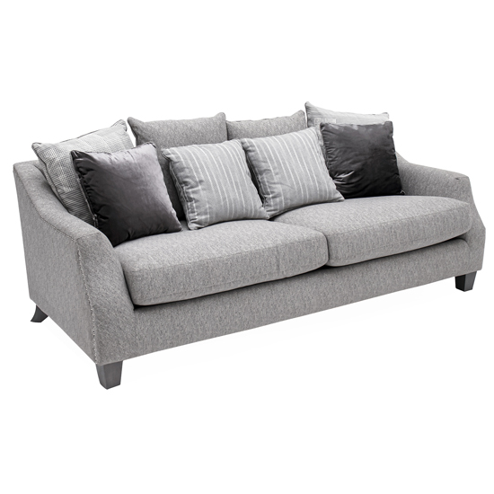 Imogen Fabric Upholstered 3 Seater Sofa In Grey