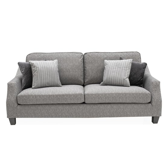 Imogen Fabric Upholstered Standard Back 3 Seater Sofa In Grey