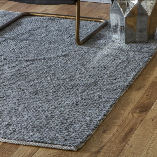 Imposta Polyster And Wool Fabric Rug In Grey