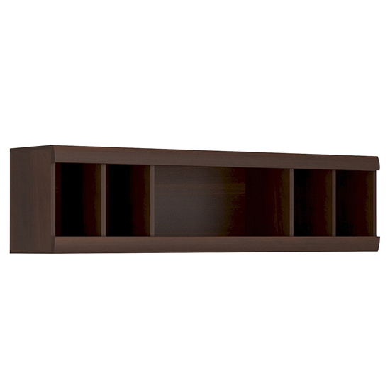 Impro Wooden Wall Shelving Unit In Dark Mahogany