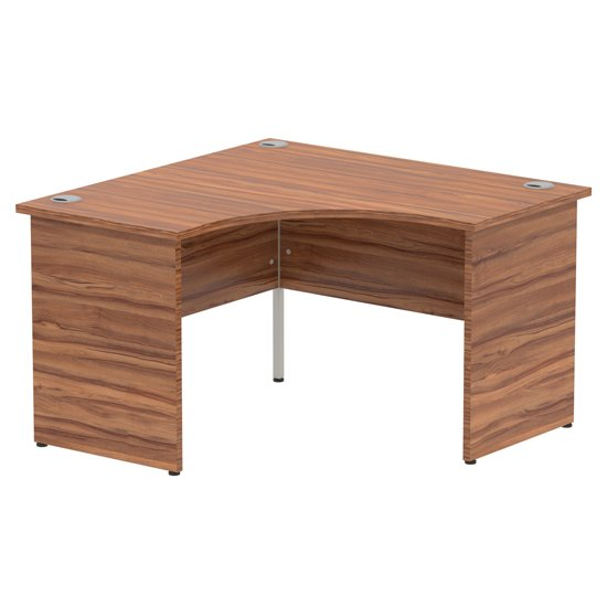 Impulse Corner Computer Desk In Walnut With Panel End Leg