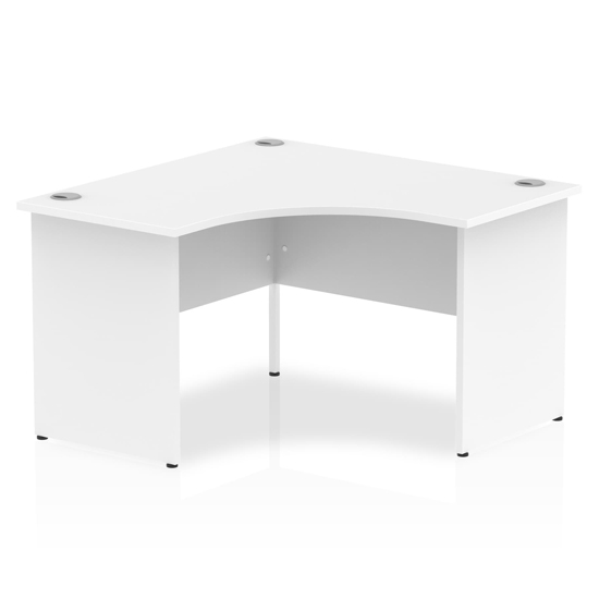 Impulse Corner Computer Desk In White With Panel End Leg