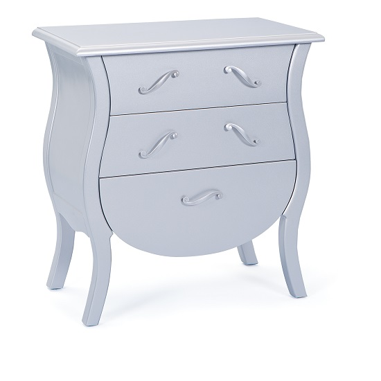 India Style Baroque Chest Of Drawers Painted Silver
