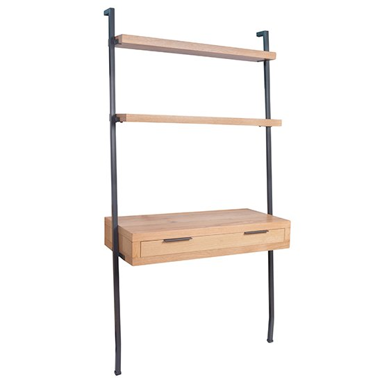 View Indio wooden bookcase 1 drawer compuer desk in oak