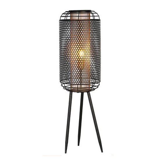Industrial Small Floor Lamp In Black And Gold