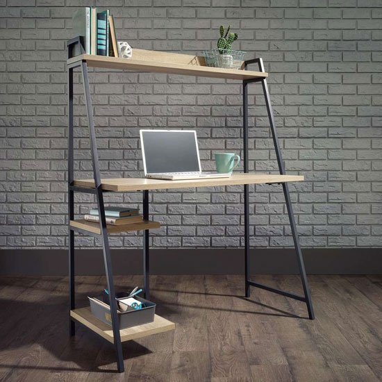 Industrial Style Laptop Desk In Charter Oak With Shelf