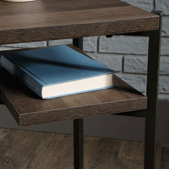 Industrial Style Laptop Desk In Smoked Oak With 4 Storage Shelve_2