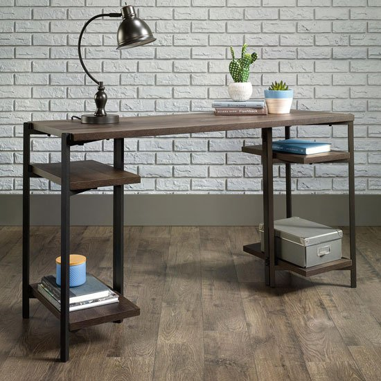 Industrial Style Laptop Desk In Smoked Oak With 4 Storage Shelve_1