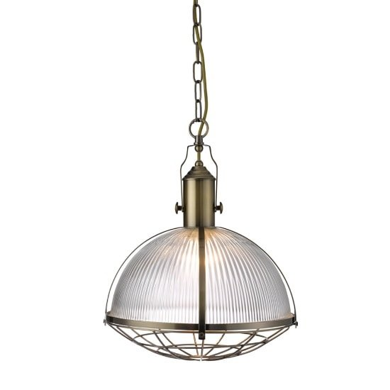 Photo of Industrial 1 light pendant in antique brass and clear glass