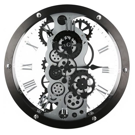Industry Glass Wall Clock With Black And Silver Metal Frame