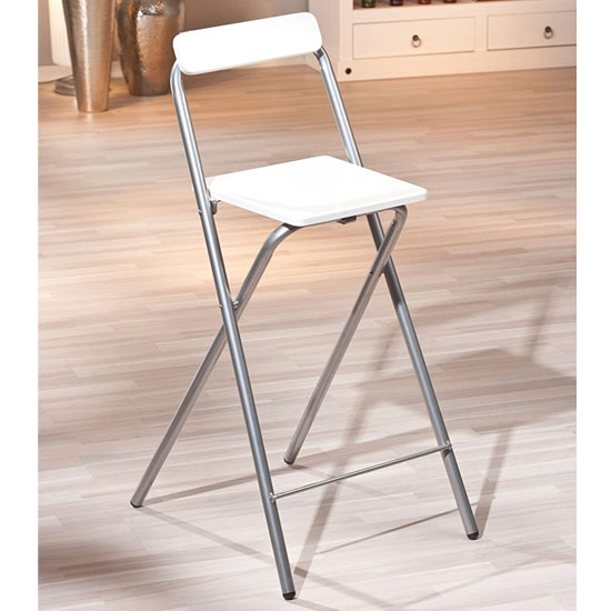 Inet Bar Stool In High Gloss White With Metal Frame