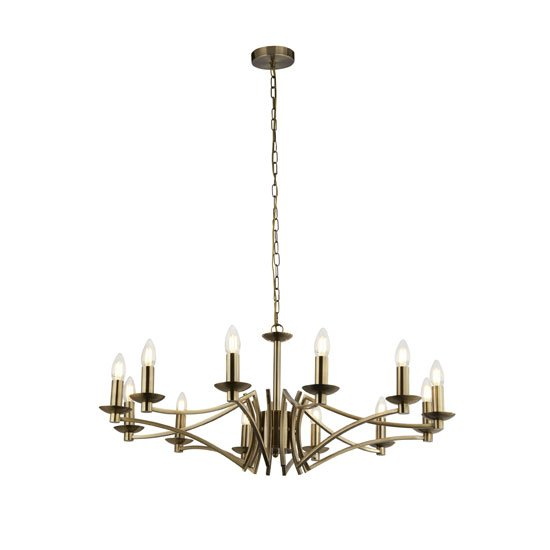 Infinity Wall Hung 12 Pendant Light In Antique Brass