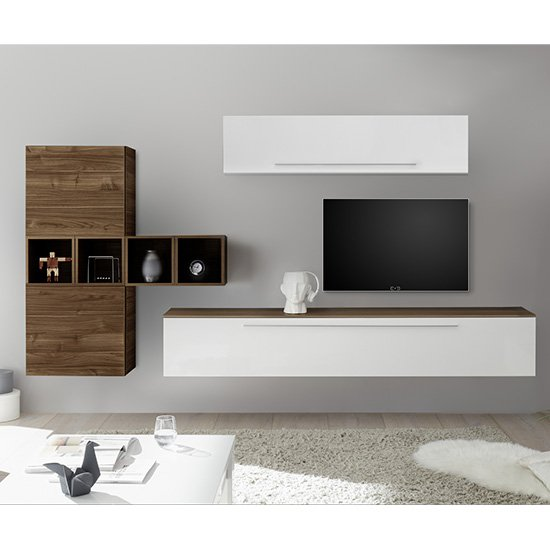 Infra Wall TV Unit And Shelves In White Gloss And Dark Walnut