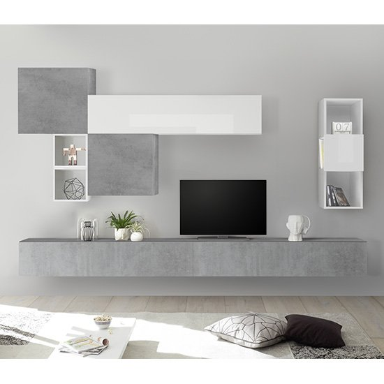 Infra Wall TV Unit And Shelves In Cement Effect And White Gloss