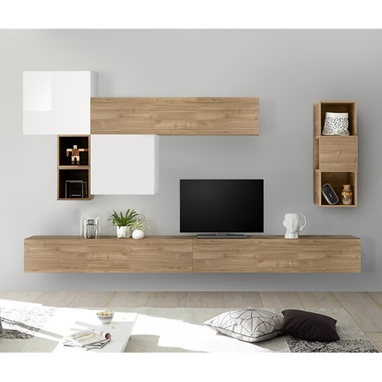 Infra Wall TV Unit And Shelves In Stelvio Walnut And White Gloss