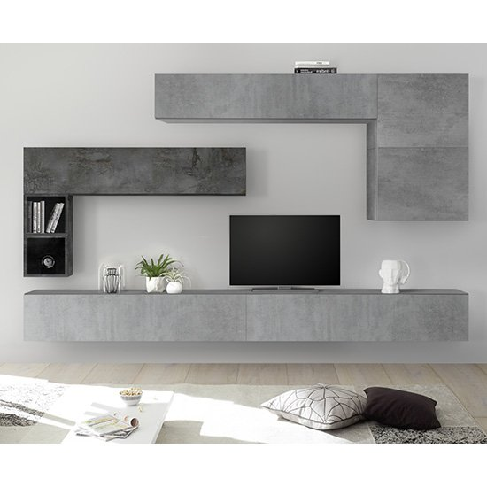 Infra Large Entertainment Unit In Oxide And Cement Effect
