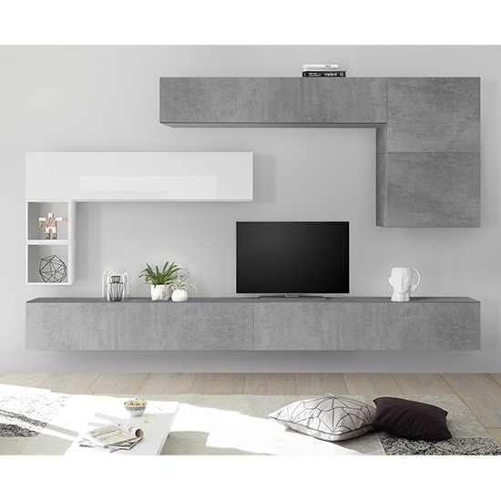 Infra Large Entertainment Unit In Cement Effect And White Gloss