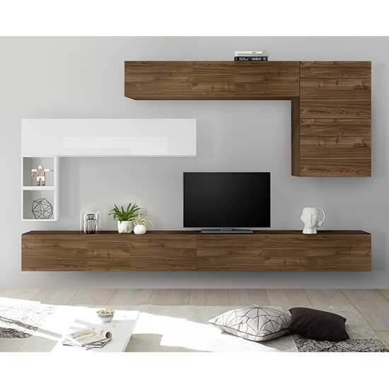 Infra Large Entertainment Unit In Dark Walnut And White Gloss
