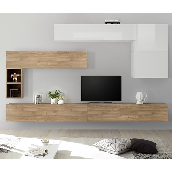 Infra Large White Gloss Entertainment Unit In Stelvio Walnut