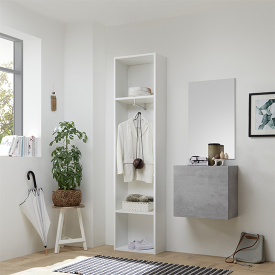 Infra Bathroom Furniture Set In Matt White And Cement Effect_2